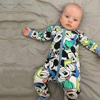 🌟INSTOCK🌟 Mickey Blue Zipper PJ Long Sleeves Onesie Kids Sleeping Jumpsuit Newborn Toddler Baby Romper for boys