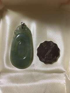 天然A貨玉器冰種油青翡翠福貝(配有925銀扣)