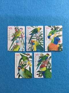 2005 Australia Parrots  Complete Set of 5 Values Used