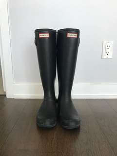 Hunter Matte Black Tall Rain Boots