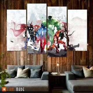 Heroes In Color 4 Piece Canvas