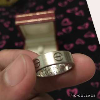 Authentic Cartier Love 18K White Gold Ring Band Size EU 52-US 6 / 7.5grams