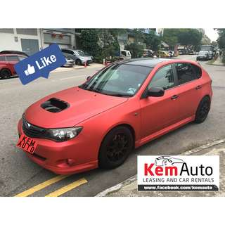Rare Sporty Matte Red Subaru IMPREZA 5D 2.0A SGT turbo 250HP loud & fast sporty car rental