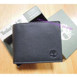 AUTHENTIC Timberland Men's Leather wallet Bifold passcase black