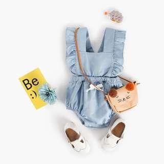 🌟INSTOCK🌟 Faded Jeans Blue Ruffled Onesie Kids Newborn Toddler Baby Romper for girls
