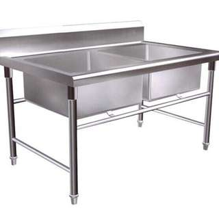 DOUBLE BOWL SINK TABLE STAINLESS STEEL 4 FEET 5 FEET 6 FEET