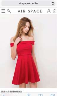 Air space off shoulder red dress 紅色連身裙