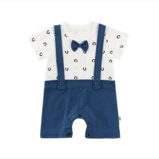 🌟INSTOCK🌟 White Blue Smart Suit Suspender Perry Short Sleeves Onesie Kids Newborn Baby Romper for boys