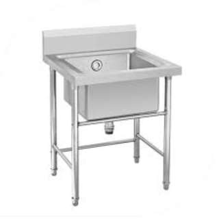 SINGLE BOWL SINK TABLE STAINLESS STEEL