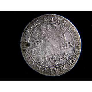 1764年布倫斯域克公國駿馬1/12他勒老銀幣