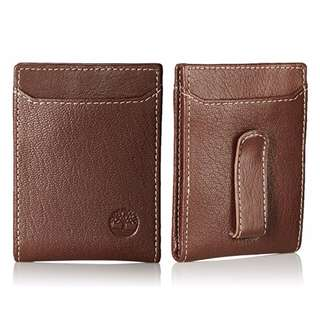 AUTHENTIC Timberland Men's Leather wallet bifold money clip card case brown