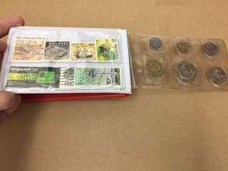 新加坡 馬來西亞 貨幣& 郵票紀念冊 珍藏 古董