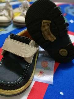Original Imported Florsheim USA Kids Blue Brown Leather Shoes Velcro
