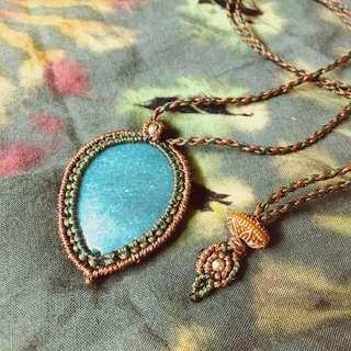 LivingThingS •海藍寶• 手工編織 巴西蠟繩 編織 礦石 天然石