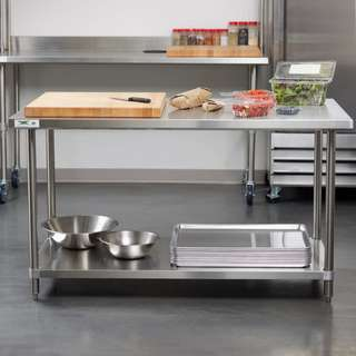 STAINLESS STEEL WORKTABLE WORKTOP WITH UNDERSHELF