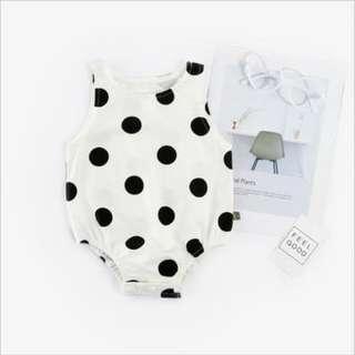 🌟INSTOCK🌟 Polka White Sleeveless Newborn Baby Onesie Kids Romper for girls