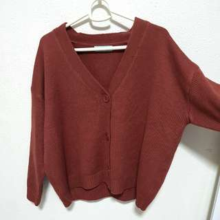 🚚 Brick Red Knitted Cardigan