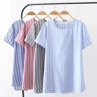 (XL~4XL) Stripe hollow stitching short-sleeved T-shirt women's casual tops cotton