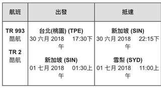 台北-新加坡-雪梨