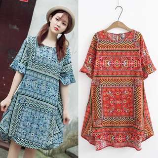 (3XL~6XL) Long loose cover trumpet sleeves dress cotton A word dress