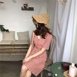 A1306🌸2色*格紋V領排扣洋裝