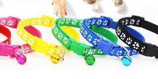 Adjustable Paw Print Pet Collar with Bell