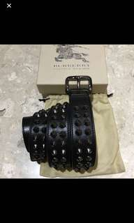 Authentic Brand New Burberry Unisex Black Studded Belt Size 90