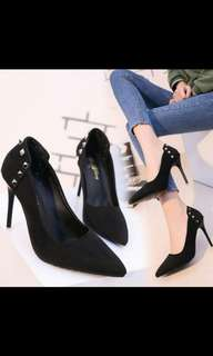 'Preorder' Korean suede studded pointed high heel shoes * waiting time 15 days after payment is made * chat to buy to order