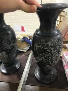 Solid Antique Flower Vase ( Pair ) H 32cm x W 14cm ( 3.4kg Each = 2 for 6.8kg)