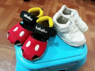 【兩雙帶走】幼兒童鞋男寶寶學步小白鞋運動鞋 文青風短靴軟底米老鼠涼鞋