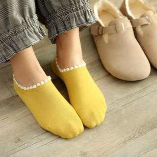 🚚 FUN 日雜~ 小清新 可愛配色 毛球邊 短襪 造型襪 船型襪
