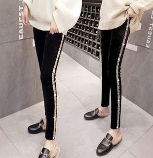 🚚 PO Glitter Side Stripe Slim Look Tight