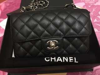 😱LNIB😱 Chanel Classic Mini Rectangle Black Caviar Champagne Ghw #23