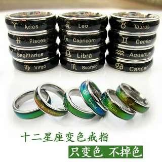 韓版十二星座感溫變色戒指❤溫度會隨著身體溫度不同而改變銀色喲~❤