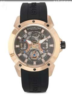Stuhrling Original Black Leather Strap Watch