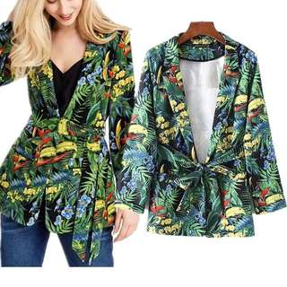 Summer Parrot Green Leaf Printed Belt Blazer