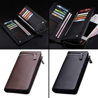 (79)Men Leather ID Credit Card Holder Clutch Purse Long Zipper Wallets