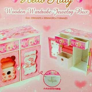 Sanrio Hello Kitty Wooden Wardrobe Jewellery Box 衣櫃型首飾木盒 全新正版有盒 Size: 20.5W x 23.6H x 11D cm
