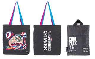 全新正品 購自complexcon 村上隆 收納式 雙彩帶 輕便袋 tote bag