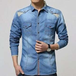 SM axton jeans wash l atasan fashion baju jeans pria kemeja