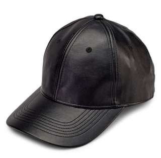 Topshop Black Faux Leather Baseball Cap