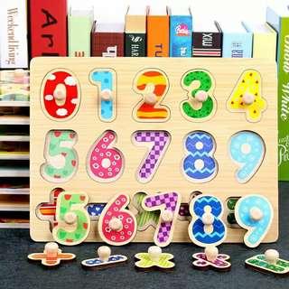木製數字學習認知拼圖❤讓孩子快樂才是媽媽想要的 ❤