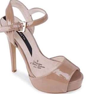 Nude Faux Patent Leather Strappy High Heels Shoes Zalora 38 7