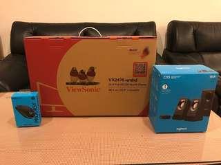 ViewSonic VX2476 -SMHD 24寸IPS(含Logitech 滑鼠、喇叭)
