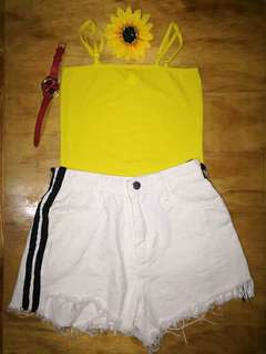 Yellow Nadine Top and White HW Shorts 👯