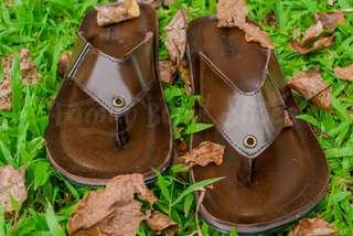 Sandal jepit kulit Family Bunut Shoes cokelat