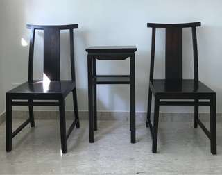 Antique Chicken-wing Wood Side Table and 2 Teakwood Chairs