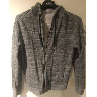 Grey Cotton Jumper with Hoodie