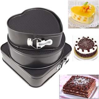 3 In 1 Non-Stick Round Heart Square Shape Cake Mould