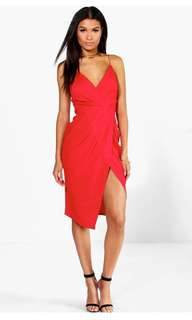 Red Midi Dress with Front Slit by Boohoo